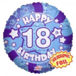 "BLUE BALLOONS 18"" HOLOGRAPHIC click to see avail ages"